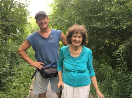 Mom and Chris walking the trails by the beach at Southwick.