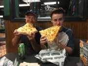 Huge pizza slices at Peri's Pizza in Canandaigua, NY