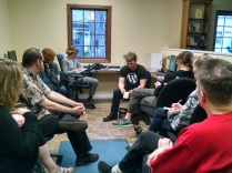 CJ leading the WordPress meetup in Fillmore, NY. Love this group of people.