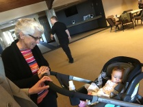 My mom meets my cousin's baby. Isn't she adorable?