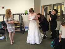 My sister-in-law, Susan, and Lauren's mom, Yvonne, helping Lauren get ready.