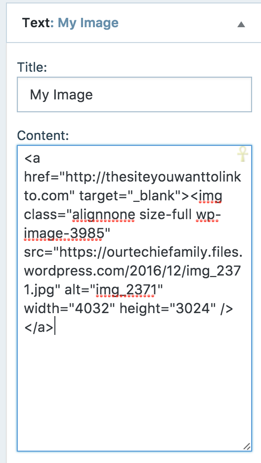 Grabbing HTML for an Image and Link for a Text Widget