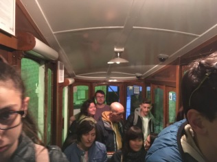 Lise and Chris enjoy the funicular ride in Bairro Alto.