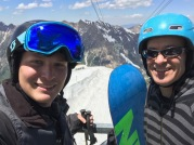 Happy men on the slopes at Snowbird in Utah.