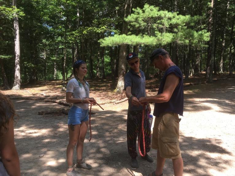 Bri teaching us how to do knots